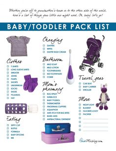One day I'll need this! Free printable travel pack list for baby and toddler