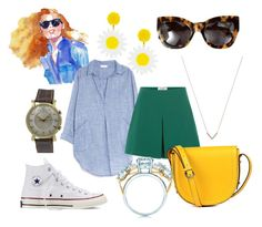 A fashion look from August 2016 featuring long shirt dress, green shorts and white sneakers. Browse and shop related looks. Karen Walker, Jay, Tiffany, Valentino, Converse, Shades, Michael Kors, Shoe Bag, Polyvore