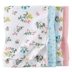 Baby Girl 4-Pack Flannel Receiving Blankets | Carters.com