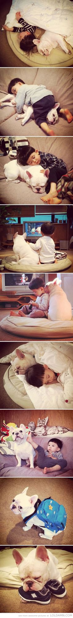 The sweetest friendship…cute boy with his Frenchie!