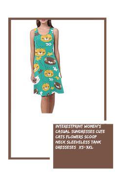 INTERESTPRINT Womens Casual Tank Dresses Cute Cat Scoop Neck Sleeveless Sundresses XS-3XL