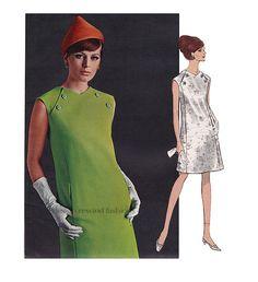 1960s Vogue DRESS PATTERN Federico Forquet 60s MOD Twiggy Italian Dress Vogue Paris Couturier 1837 Bust 38 Women's Vintage Sewing Patterns at DesignRewindFashions - Vintage to Modern Sewing Patterns