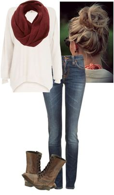 #fall #outfits / Red Scarf + White Longsleeve