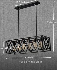 Efine Vintage Industrial 6 Lights Edison Retro Rustic Wrought Iron Black Chandelier Rectangle Island Light Fixtures Max 360w NO Glass