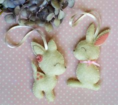 Felt bunny and fawn - plush animals - decoration - nursery decor. via Etsy.