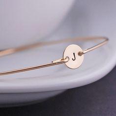 Personalized Bracelets, Simple Gold Bangle Bracelet, Initial Bracelet, Gift for Friends. $36.00, via Etsy.