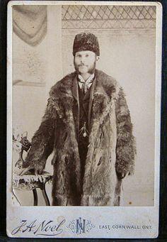 Cabinet Photo Late 1800s Man in Fur Coat Hat East Cornwall Ontario   eBay
