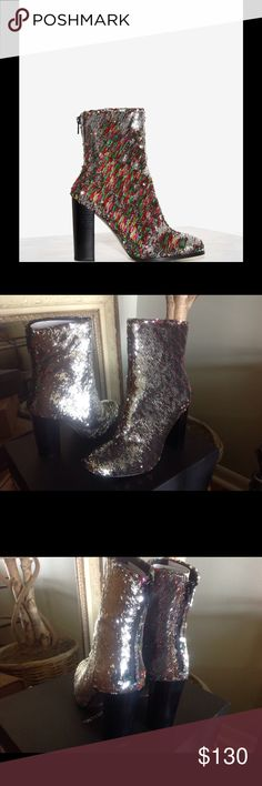 """**LAST ONE**Sequin Ankle Boots Intentionally Blank Sequin Ankle Boot.  Silver/Multi-colored.  Brand new w/box.  No trades.  EU 38, 39 available.  EU 38=7/7.5M EU 39=8/8.5M. 4""""heel Intentionally Blank Shoes Ankle Boots & Booties"""