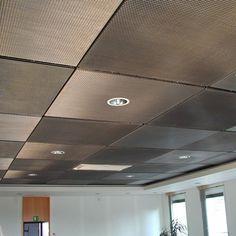 Balance Studios: Conference Room: drop ceiling tiles painted with metallic aluminum paint. paint tiles covered with a thin metal mesh Drop Ceiling Panels, Drop Ceiling Tiles, Dropped Ceiling, Home Ceiling, Ceiling Ideas, Metal Ceiling, Bedroom Ceiling, Drop Down Ceiling, Porch Ceiling