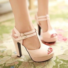 Heels: approx 12 cm Platform: approx 3 cm Color: Black, Beige, Pink Size: US 3, 4, 5, 6, 7, 8, 9, 10, 11, 12 (All Measurement In Cm And Please Note 1cm=0.39inch) Note:Use Size Us 5 As Measurement Stan