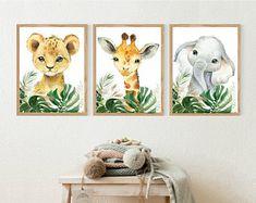 Set of 3 Safari Animal PrintsNursery Wall DecorWatercolor | Etsy Canvas Wall Collage, Diy Canvas Art, Safari Nursery, Nursery Prints, Tropical Nursery, Baby Boy Themes, Green Gifts, Safari Animals, Nursery Wall Decor