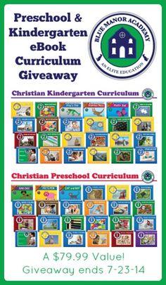 Blue Manor Education Preschool and Kindergarten eBook Giveaway!  ends 7/23/14