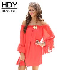 HDY Haoduoyi Fashion Backless Mini Dress Women Butterfly Sleeve Off Shoulder Female Straight Sweet Solid Chiffon Ladies Dress