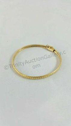 14k Gold Omega Style Diamond Etched Bracelet