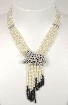 Cartier - Haute Joaillerie - Collier multirangs Panthère - Perles