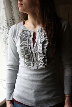 Cute, simple tee refashion--Could I pull this off? I mean, ya know, the wearing it part?
