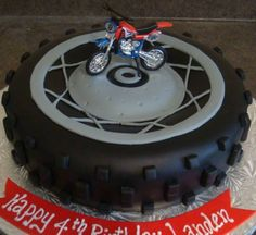 dirt bike cake ideas | Dirtbike Tire Cake Motocross Cake, Motorcycle Cake, Birthday Cakes For Men, Cakes For Boys, Birthday Parties, Happy Birthday, Fondant Cakes, Cupcake Cakes, Dirt Bike Cakes