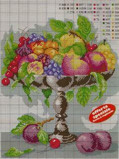 Gallery.ru / Foto # 94 - GRÁFICOS !!!!! - nnetthynunes Cross Stitch Fruit, Cross Stitch Kitchen, Cross Stitch Heart, Cross Stitch Flowers, Basic Embroidery Stitches, Cross Stitch Embroidery, Cross Stitch Designs, Cross Stitch Patterns, Diy Finger Knitting