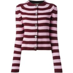 Marni striped cardigan (£675) ❤ liked on Polyvore featuring tops, cardigans, burgundy cardigan, crew neck cardigan, long sleeve tops, pink long sleeve top and pink cashmere cardigan