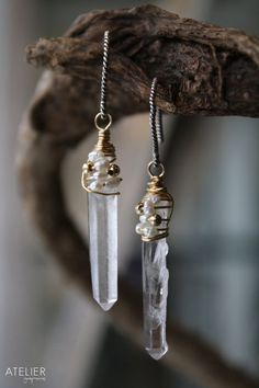 Quartz Crystal Points Wrapped in Pearls by ATELIERGabyMarcos, $49.00