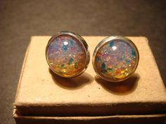 Silver Fire Opal Earring Studs (954)