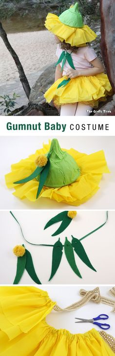 Gumnut babies costume inspired by the characters from Snugglepot and Cuddlepie by May Gibbs. This is a no-sew costume thrown together from items bought from the dollar store. It makes a perfect bookweek costume idea and is very EASY to make.