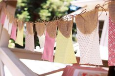 Bunting: fabric rectangles and burlap semi-circles (links to gorg. bridal shower)