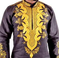 Black African Top Gold embroidery Top only by BournLoondonLtd African Shirts For Men, African Tops, African Clothing For Men, African Men Fashion, African Fashion Dresses, African Outfits, African Attire, African Wear, African Dress