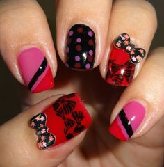 Wendy's Delights: Sparkly Nails Black Floral Bow Bubble Charms @Sparkly-Nails.co.uk
