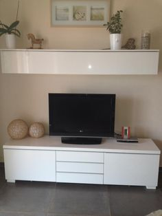 Its existence makes your area a lot more trendy. Nowadays, white TV tables have various forms and styles that may make you perplexed which one to select. Tv Ikea, Condo Living, Living Room Tv, Home And Living, Small Living Room Ideas With Tv, Ikea Tv Stand, Interior Exterior, Interior Design, Ikea Units