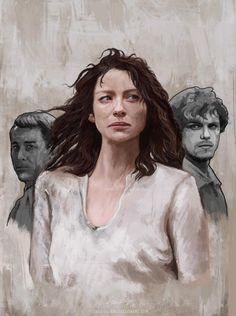Gorg #Outlander Claire/Jamie/Frank fan art by http://www.gabriellamcgregorart.com/ . Please keep artist credit.