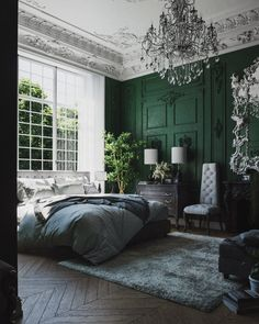 51 Green Bedrooms With Tips And Accessories To Help You Design Yours – Moldings and details – einrichtungsideen wohnzimmer Burgundy Bedroom, Sage Green Bedroom, Green Bedroom Walls, Green Bedroom Decor, Green Master Bedroom, Green Accent Walls, Accent Wall Bedroom, Bedroom Paint Colors, Green Rooms