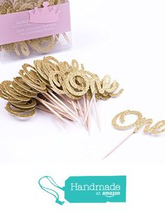 First Birthday Cupcake Toppers. ONE Birthday Picks. Gold Glittered Princess First Birthday Party Decorations - 24CT from XOXOKristen https://www.amazon.com/dp/B01BY7QXTY/ref=hnd_sw_r_pi_dp_vYEwxbPB9QMY0 #handmadeatamazon