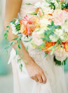 Elegant coral and blush bouquet | Peaches and Mint