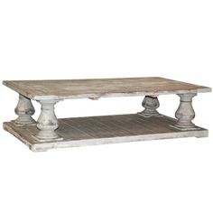 Featuring pillar-inspired details and a weathered finish, this lovely coffee table anchors your parlor or den in classic style.Pro...
