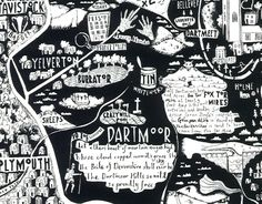Caroline Harper's map of Dartmoor, Devon, was inspired by her family's move to the area. It depicts many of the region's geographical, cultural and mythological features, including Dartmoor prison, Chagstock music festival, Kitty Jay's grave and Widecome church. carolineharper.com