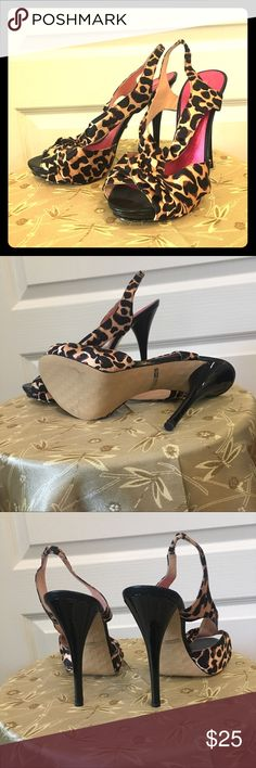 "Leopard Betsey Johnson Heels 9 Glam stilettos with a 4.5"" heel and .5"" partially hidden platform Betsey Johnson Shoes Heels"