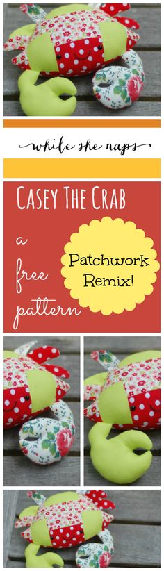 Free pattern for this adorable patchwork crab. Step-by-step instructions plus full-sized printable templates. And easy, fun scrap buster!