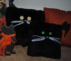 DIY Halloween : DIY Make a Cute Halloween Black Fur Cat Pillow