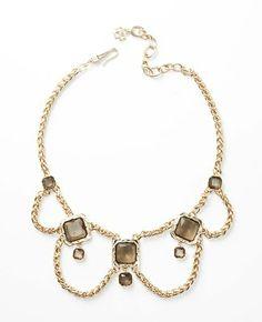 Smoky Stone Box Chain Statement Necklace