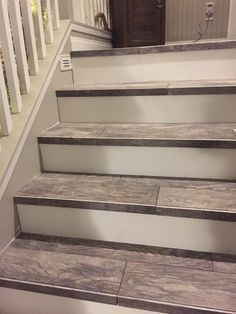 Reface Ugly Carpeted Stairs With Prefab HW Treads/risers | Staircase Ideas  | Pinterest | Prefab, Basements And Staircases