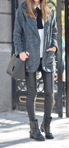 #fall #outfit #ideas · Leather Skinny Pants // Ankle Boots // Shoulder Bag // Grey Coat