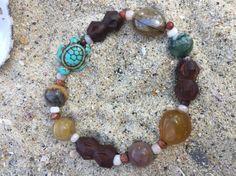 Sea turtle chunky beaded bracelet.  Ornate by SunnybeachDesign