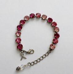 Swarovski Crystal Bracelet pink breast cancer awareness - Silver Setting - Crystal Tennis Bracelet - pink ombre - pink ribbon - gift for her by FireflyCrystalStudio on Etsy https://www.etsy.com/listing/478667941/swarovski-crystal-bracelet-pink-breast