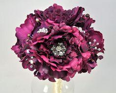 READY TO SHIP purple peony bouquet plus boutonniere purple brooch bouquet plum Wedding Bouquet Bridal Bouquet flower bouquet -10 inches