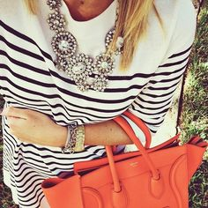 marine striped long shirt with jeweled statement necklace, coral #celine bag #classy #style