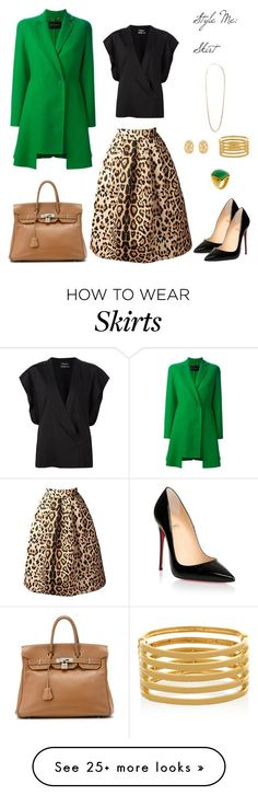 """Style me: Skirt"" by dazzlious on Polyvore featuring Versace, Hermès, Anthony Vaccarello, Christian Louboutin and Kenneth Jay Lane"