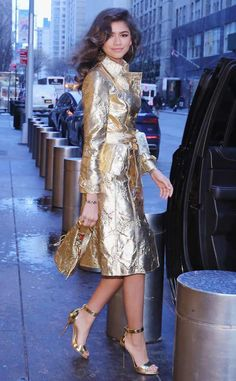 Zendaya from The Big Picture: Today's Hot Photos  Glow girl! The actress rocks a gold coat while out and about in NYC.