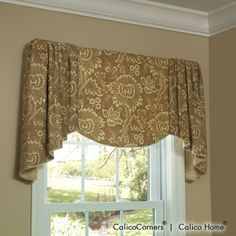 Would like to add a one inch bias trim to the lower edges and welting to the top. Verona Valance - Board and Pole Mounted Valance - Valances and Swags - Windows - Calico Corners Valance Window Treatments, Kitchen Window Treatments, Custom Window Treatments, Window Coverings, Window Valances, Valences For Windows, Window Toppers, Calico Corners, Drapery Designs