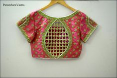 Blouse designed by . Tag your picture with to get featured on this page . Saree Blouse Neck Designs, Cutwork Blouse Designs, Cut Work Blouse, Maggam Work Designs, Stylish Blouse Design, Sleeve Designs, Blouses, Blouse Desings, Cream Blouse